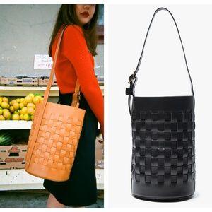 Trademark Black Leather Woven Bucket Bag